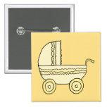 Yellow Baby Pram. Pinback Buttons