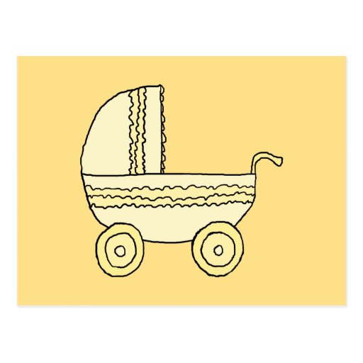 Yellow Baby Pram. Postcard