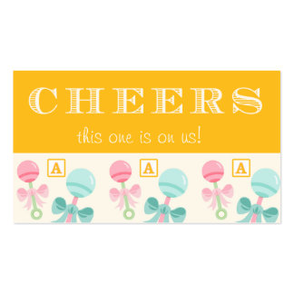 Yellow Baby Rattle Baby Shower Drink Ticket Double-Sided Standard Business Cards (Pack Of 100)