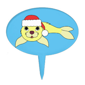Yellow Baby Seal in Christmas Red Santa Hat Cake Topper