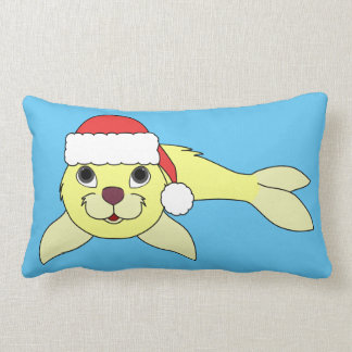 Yellow Baby Seal in Christmas Red Santa Hat Lumbar Pillow