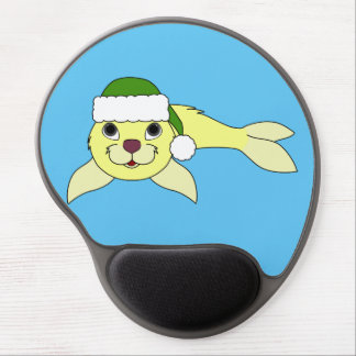 Yellow Baby Seal with Christmas Green Santa Hat Gel Mouse Pad