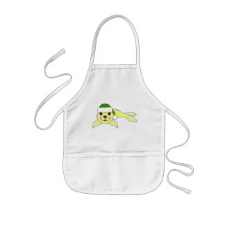 Yellow Baby Seal with Christmas Green Santa Hat Kids' Apron