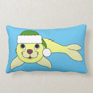 Yellow Baby Seal with Christmas Green Santa Hat Lumbar Pillow