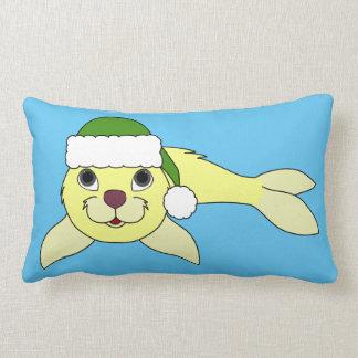 Yellow Baby Seal with Christmas Green Santa Hat Lumbar Pillow
