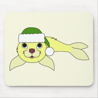 Yellow Baby Seal with Christmas Green Santa Hat Mouse Pad