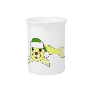 Yellow Baby Seal with Christmas Green Santa Hat Pitcher