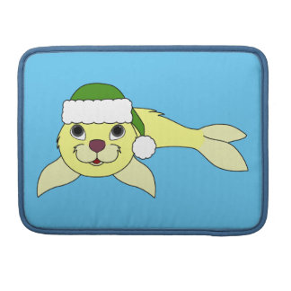 Yellow Baby Seal with Christmas Green Santa Hat Sleeve For MacBooks