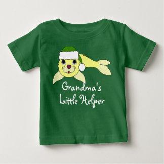 Yellow Baby Seal with Christmas Green Santa Hat Tee Shirt