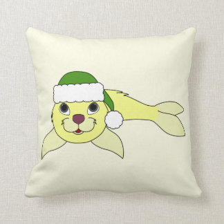 Yellow Baby Seal with Christmas Green Santa Hat Throw Pillow