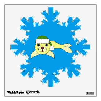 Yellow Baby Seal with Christmas Green Santa Hat Wall Sticker