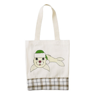 Yellow Baby Seal with Christmas Green Santa Hat Zazzle HEART Tote Bag