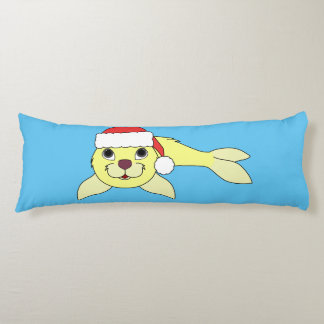 Yellow Baby Seal with Christmas Red Santa Hat Body Pillow