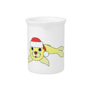 Yellow Baby Seal with Christmas Red Santa Hat Drink Pitchers