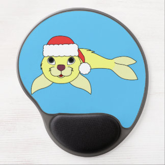 Yellow Baby Seal with Christmas Red Santa Hat Gel Mouse Pad