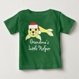Yellow Baby Seal with Christmas Red Santa Hat Infant T-shirt