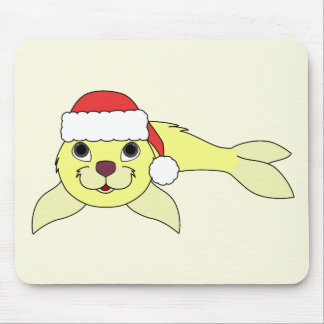Yellow Baby Seal with Christmas Red Santa Hat Mouse Pad