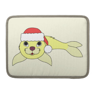 Yellow Baby Seal with Christmas Red Santa Hat Sleeves For MacBook Pro