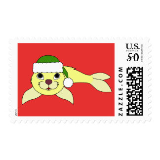Yellow Baby Seal with Green Santa Hat Postage