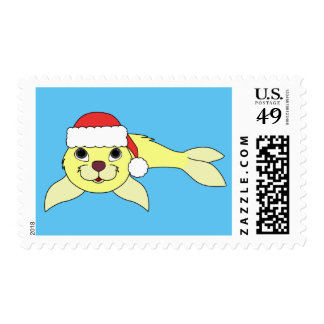 Yellow Baby Seal with Red Santa Hat Postage