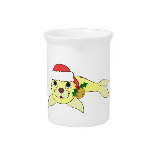 Yellow Baby Seal with Santa Hat & Gold Bell Drink Pitcher