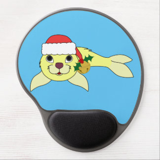 Yellow Baby Seal with Santa Hat & Gold Bell Gel Mouse Pad