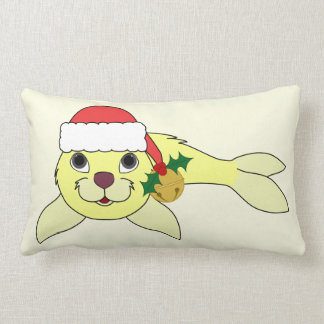 Yellow Baby Seal with Santa Hat & Gold Bell Lumbar Pillow