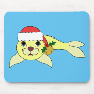 Yellow Baby Seal with Santa Hat & Gold Bell Mouse Pad