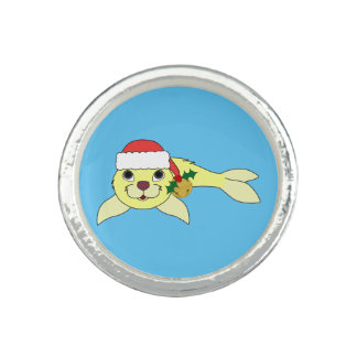 Yellow Baby Seal with Santa Hat & Gold Bell Photo Ring