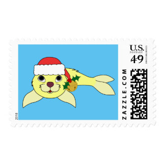 Yellow Baby Seal with Santa Hat & Gold Bell Postage