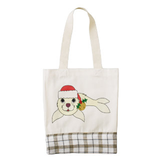 Yellow Baby Seal with Santa Hat & Gold Bell Zazzle HEART Tote Bag