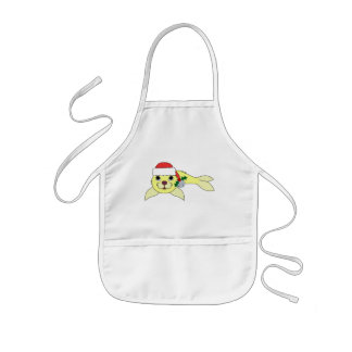 Yellow Baby Seal with Santa Hat & Silver Bell Kids' Apron