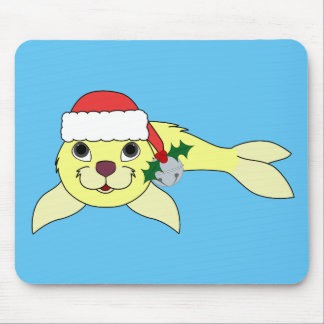 Yellow Baby Seal with Santa Hat & Silver Bell Mouse Pad