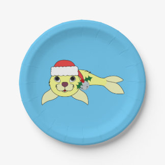 Yellow Baby Seal with Santa Hat & Silver Bell Paper Plate