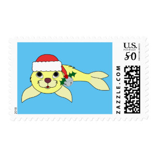 Yellow Baby Seal with Santa Hat & Silver Bell Postage