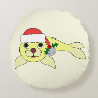 Yellow Baby Seal with Santa Hat & Silver Bell Round Pillow