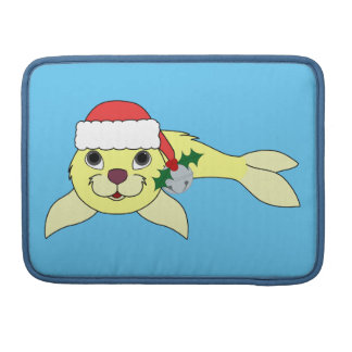 Yellow Baby Seal with Santa Hat & Silver Bell Sleeves For MacBook Pro