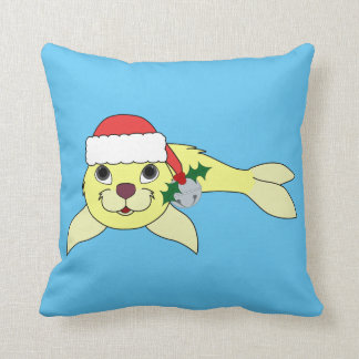Yellow Baby Seal with Santa Hat & Silver Bell Throw Pillow