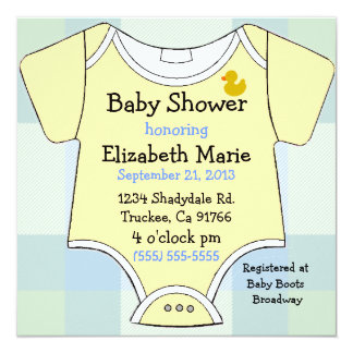Yellow Baby Shirt on Blue Plaid Baby Shower Card