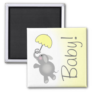 Yellow Baby Shower Favor Magnet - Elephant