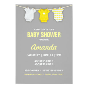 Yellow and grey baby shower invitations announcements zazzle yellow baby shower invitation clothesline theme card filmwisefo Choice Image