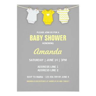 yellow baby shower invitation clothesline theme card