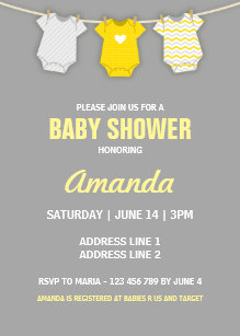 Yellow and grey baby shower invitations announcements zazzle yellow baby shower invitation clothesline theme invitation filmwisefo