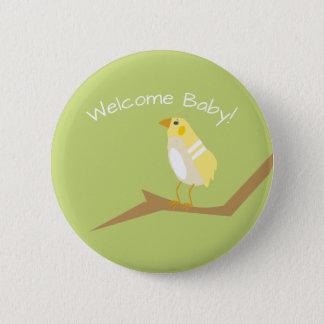 Yellow Baby Shower Modern Nature Bird Favor Pin