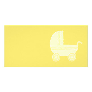 Yellow Baby Stroller. Photo Card