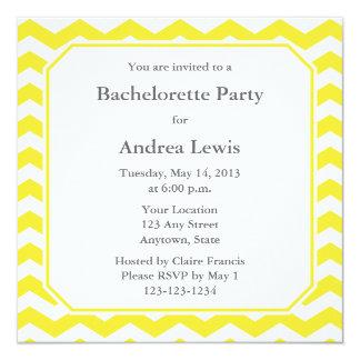 """Yellow Bachelorette Party Invite / Announcement 5.25"""" Square Invitation Card"""