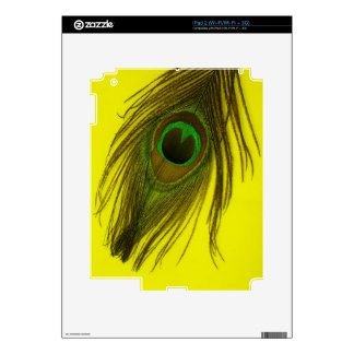Yellow Background Peacock Feather iPad 2 Decal