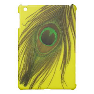 Yellow Background Peacock Feather iPad Mini Covers