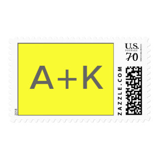 Yellow background with gray lettering postage