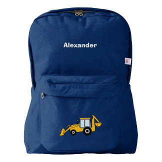 Yellow Backhoe and Loader Personalized Backpack